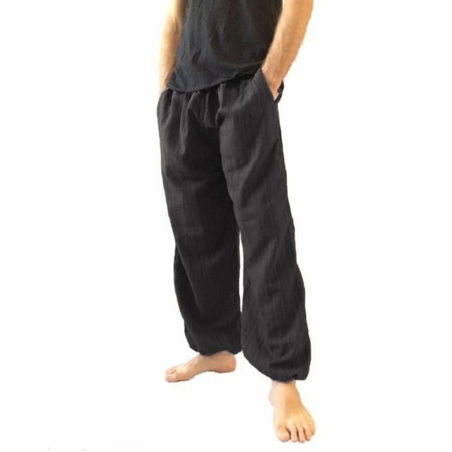 Pantalones Largos De Algodon Y Lino De Talla Grande Para Hombre Pantalones Informales Anchos De Color Liso Novedad Pantalones Informales Aliexpress