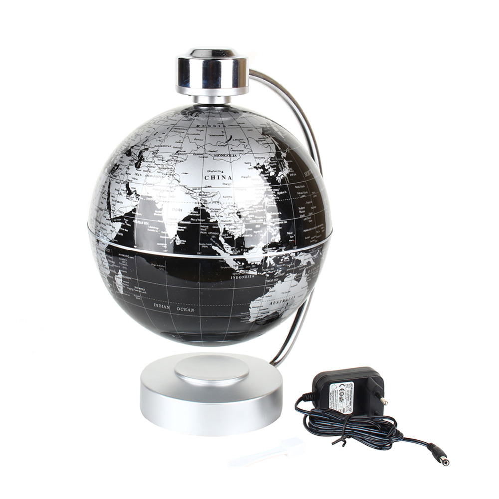 220v desk toy educational magnetic levitation floating globe world map gift 8 inch black color. Black Bedroom Furniture Sets. Home Design Ideas