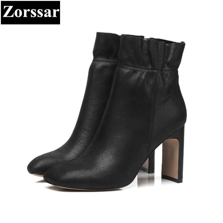 {Zorssar} 2018 NEW Large size Women Boots Thick heel pointed Toe High heels ankle Equestrian boots fashion womens shoes winter 2015 new design womens wedges heels pumps fashion pointed toe wood heel single shoes large size thick heels ladies shoes 34 43