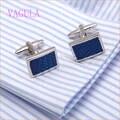 Nova Chegada de Alta Qualidade Gemelos Punhos Moda Abotoaduras de Prata Azul do Esmalte Cuff links 278