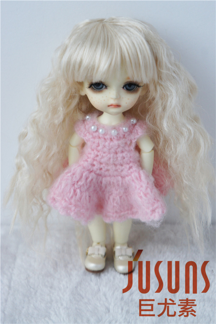купить JD041  1/8  Soft Cabbage  Long Wave BJD Doll Wigs  5-6inch Lati yellow synthetic mohair wig дешево