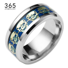 2016 New Arrival Mens Stainless Steel Jewelry Skull Ring Gold Blue Black Replica men's Engagement signet rings