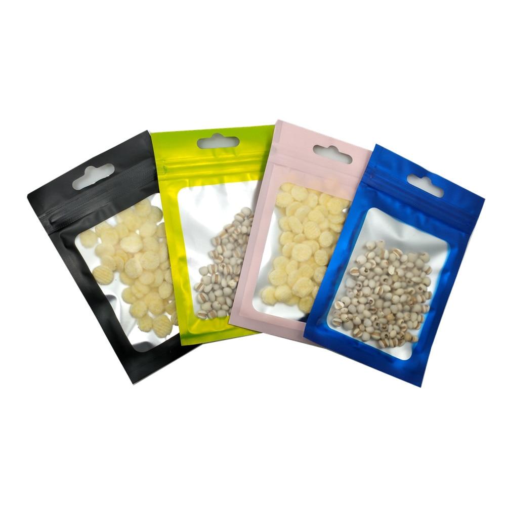 100 Uds mate colorido papel de aluminio transparente cierre de cremallera bolsa de embalaje de la compra con agujero colgante alimentos artesanías misceláneas Mylar paquete bolsa Envoltorios y bolsas de regalo    - AliExpress