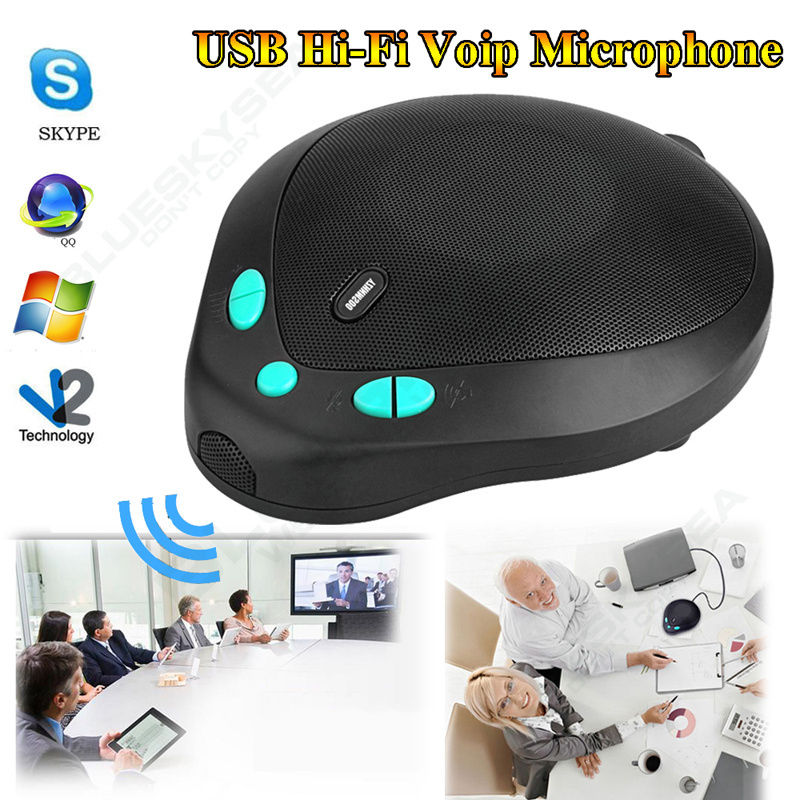 Free shipping! USB 3.5mm Hi-Fi Voip Conference Station Omnidirectional Phone Microphone Speaker tyless usb plug computer tabletop omnidirectional condenser boundary conference microphone for recording gaming skype voip call