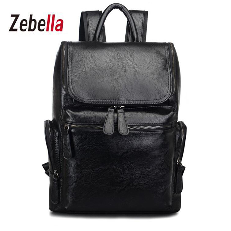 Zebella Fashion PU Leather Men Backpack Business Male School Boys Functional bags Big Capacity Waterproof Travel Backpacks zebella travel high quality pu leather men backpack big capacity waterproof functional male backpacks school teenager men bags