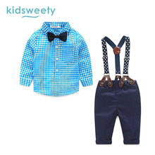 Фотография Kidsweety Baby Boys Suit Cotton Shirt Overalls Pants Two Piece Set Button Suspenders Bowknot Plaid Print Casual Boy Formal Suits