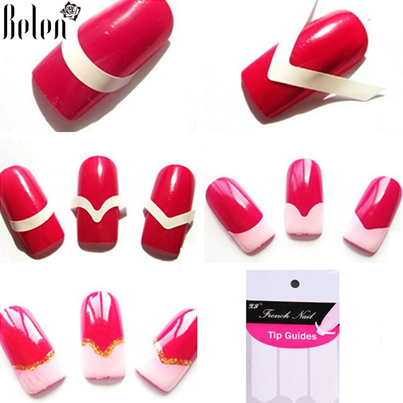 Belen 1pack french nail tips sticker nail art diy stickers uv gel belen 1pack french nail tips sticker nail art diy stickers uv gel nail polish sticker manicure nail forms fringe guides in stickers decals from beauty prinsesfo Image collections