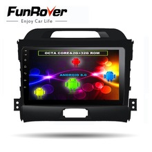 FUNROVER 8 cores Android8.0 2din Car dvd radio player for KIA Sportage 2014 2011 2012 2013 2015 gps navigation multimedia player