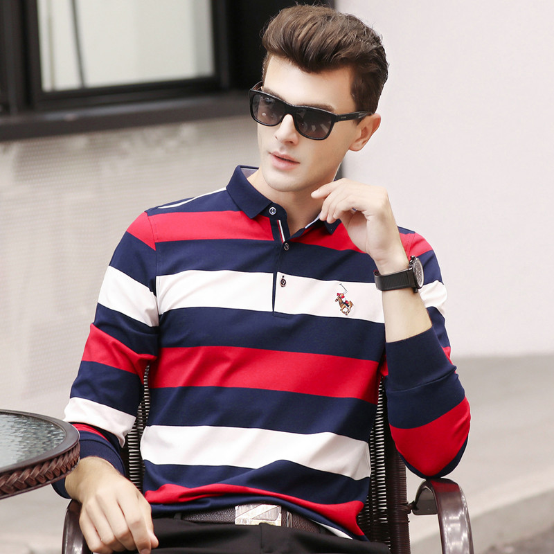 Spring autumn new arrival men cotton   polo   shirt striped long sleeve business casual breathable homme camisa plus size XXXL 6695