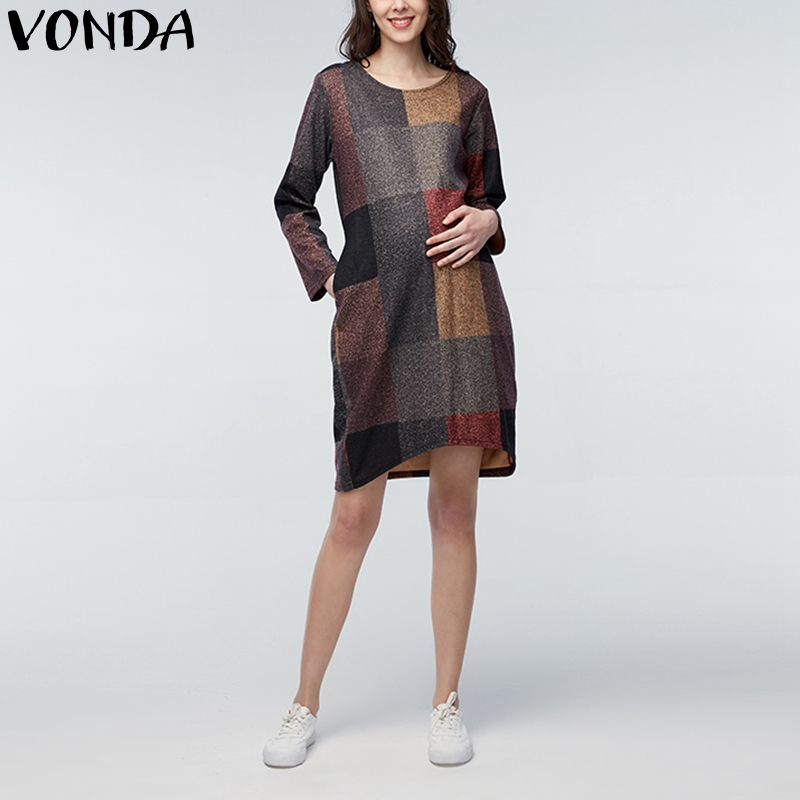 VONDA Pregnant Women Maternity Clothing Casual Loose Mid-calf Dress Long Sleeve Plaid Print Pregnancy Dresses Mothers Vestidos
