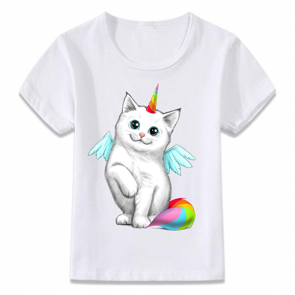 Kids T Shirt Unicorn Cat And Pug Children T-shirt Boys And Girls Toddler Tee Oal281