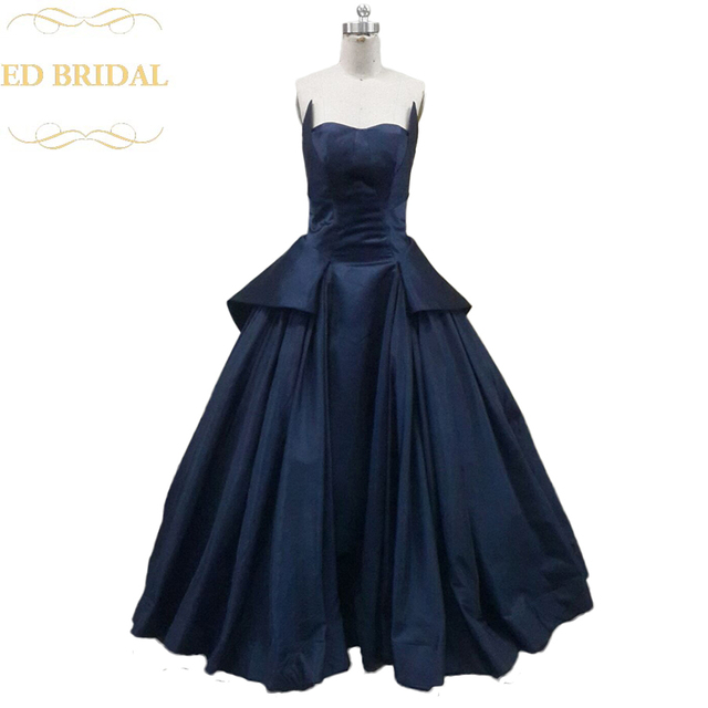 Rihanna Navy Blue Dress Ball Gown Spring 2015 Formal Evening Gown ...