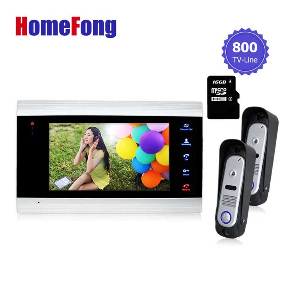 Homefong HD Touch key 7 Video Door Phone Doorbell Intercom Kit with16GB SD card Picture/Video Record 800TVL 2 Doorbell Camera цена