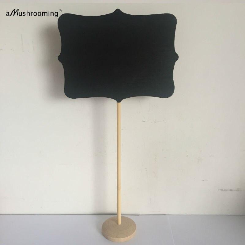 Set of 6 LARGE 16x12cm Wooden Framed chalkboard on stick Stand Place ...