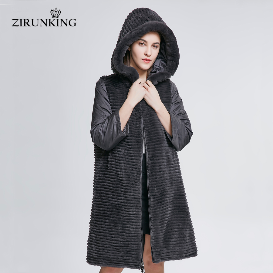 ZIRUNKING Women Real Fur With Down Coats Female Natural Rex Rabbit Fur Coat Lady Reversible Hooded Down Coat Outerwear ZC1807