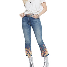 2017 летние женские брюки случайные печати джинсы женщина джинсовые брюки стрейч высокой талии джинсы