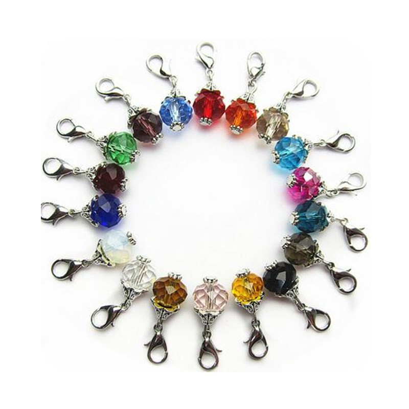Hot selling 36pcs/lot mix 18 color rhinestone crystal dangle charms lobster clasp charms for glass momery floating lockets