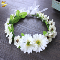 Wedding Hair Accessories Adjustable Floral Garlands Daisy Flower Halo Wreaths Crowns Headwear Headdress Manufacturer 58205