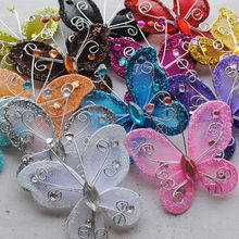 10pcs Upick Wire Glitter Butterfly Appliques Wedding Decoration Supply mix Color