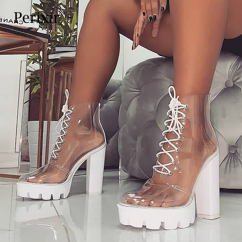 2019 New Summer Peep Toe ankle sandals boots Transparent Cross-tied crystal square heels womens 12cm high heels shoes woman2019 New Summer Peep Toe ankle sandals boots Transparent Cross-tied crystal square heels womens 12cm high heels shoes woman