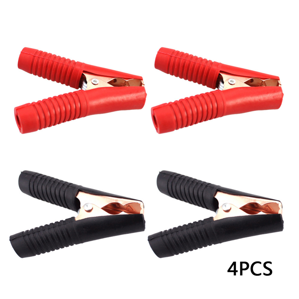 4Pcs ( 2 Red 2 Black ) Copper Plating 100A Car Battery Clip Automobiles Cables Alligator Clips Charger Clamp Terminal Clamps car 100a battery terminal alligator crocodile clamp clip pair