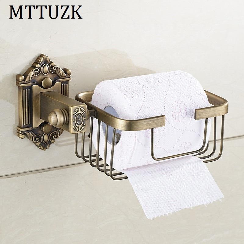 MTTUZK Antique Copper  Brushed Wall Mount Bathroom Basket Shelf Toilet Paper Holder Toilet Roll Holder Bathroom Accessories