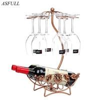 ASFULL Flower Pattern Iron 6 Wine Glass Hanger Goblet Drying Rack Stand Red Wine for Bottle Holder Bronze free shipping