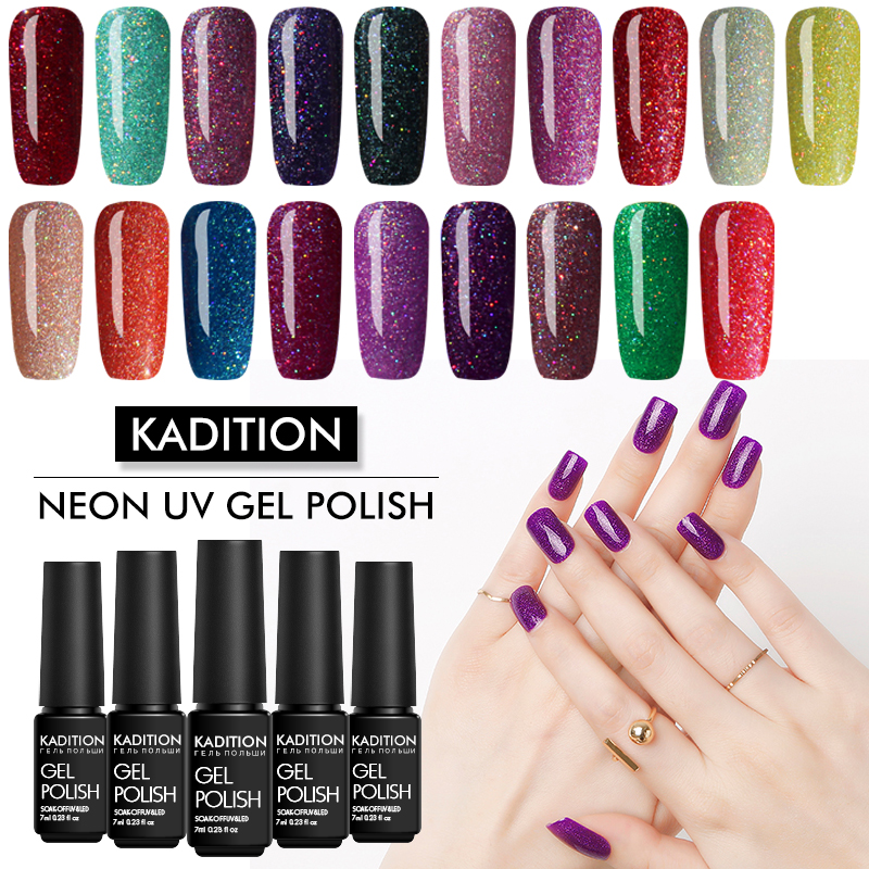 KADITION New 19 Colors Nail Polish Acrylic Glue Shiny Glitter Nails Semi-permanent UV Gel For Neon Color Soak Off Gel Varnish