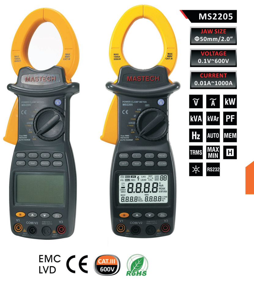 Free shipping MASTECH MS2205 Digital Power Clamp Meter Three Phase Harmonic Tester with RS232 Interface and analysis software  цены
