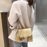 Summer Girl Leather Flap Handbag Leather Clutch Tote Bag Tassel Yellow Handbag for Women Messenger Bag Sling Bag