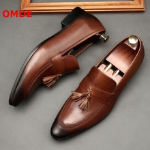 OMDE Tassel Men Shoes New Fashion Leather Loafers Slip On Dress Pointed Toe Casual Mens Wedding
