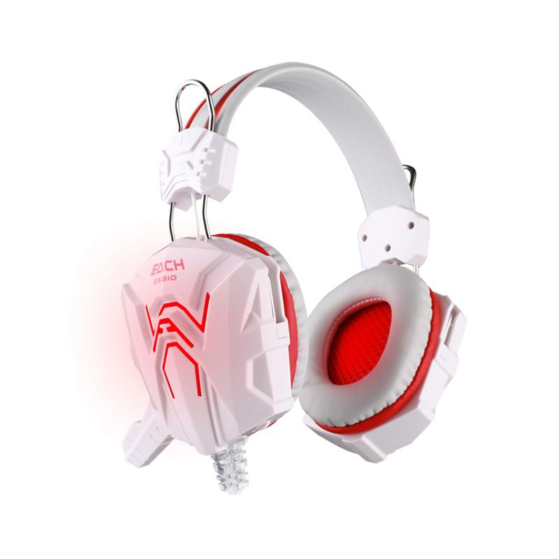 Stereo Gaming Headphone Headset Computer Gamer Earphone With Microphone Glaring LED Light For EACH GS310(White+Red) each g9000 bass gaming headset headband earphone with microphone led light gamer usb headphone for laptop tablet mobile phones