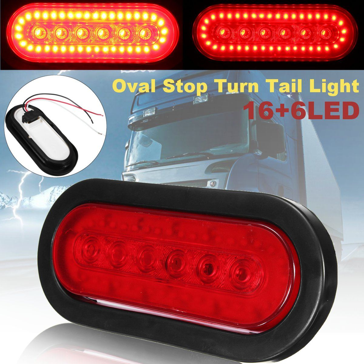 Universal New Red 16+6 LED Car Truck Caravan Van Trailer Lorry Rear Tail Stop Light Lamp