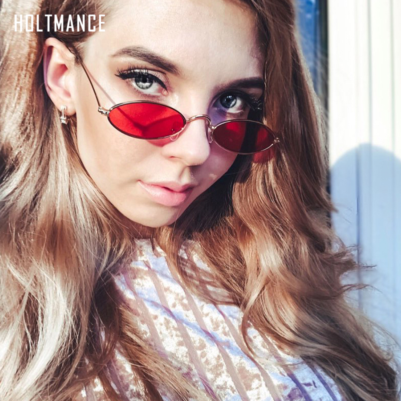 Small Oval <font><b>Sunglasses</b></font> Women Vintage Sun Glasses Brand Designer Shades Luxury Lady Metal Eyewear Fashion Lunette Red Gold image