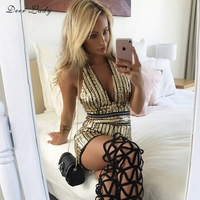 Deer Lady Bodysuit 2017 Women Sexy Halter Jumpsuit Gold Deep V Neck Jumpsuit Rompers Short Glitter Bodysuit HL