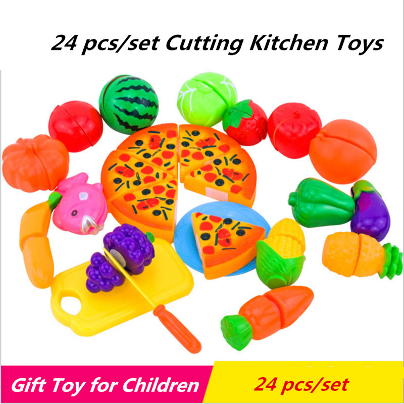 24Pcs/Set Plastic Fruit Vegetables Cutting Childrens Kitchen Toys for Children Early Development and Education Toys for Girls