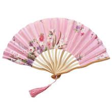 Узор ручные вентиляторы Шелковый бамбуковый складной ручной сложенный для церкви свадебный ручной Вентилятор Прохладный бамбуковый цветок персонализированный 19feb19