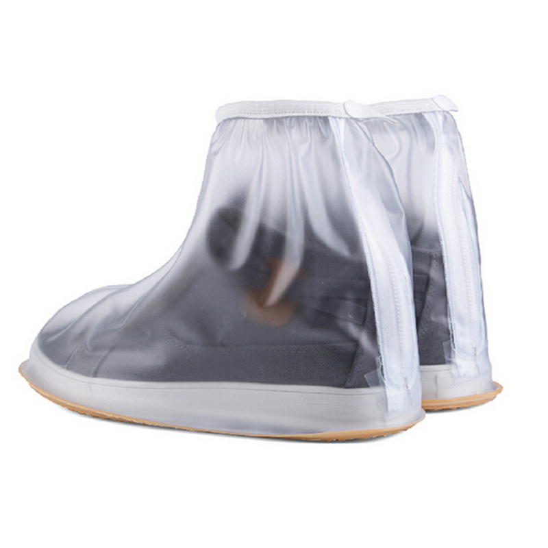 1Pair Waterproof Shoes Cover Men Cycle Rain Boots Gumboots Rubber Boots Cover Flat Slip-resistant Overshoes Cover Rain Gear