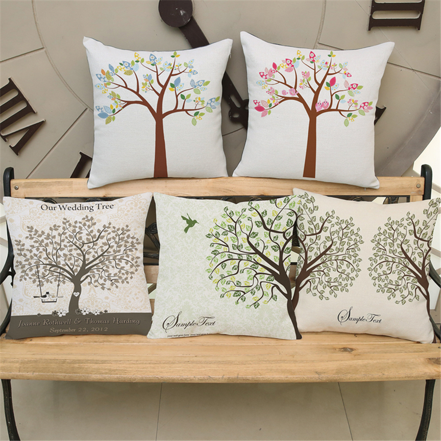 Scandinavian Furniture Bed Us 4 25 Plant Tree Printed Pillows Cover Living Room Scandinavian Style Sofa Bed Decorative Retro Cushion Cover Green Home Decor E703 In Cushion