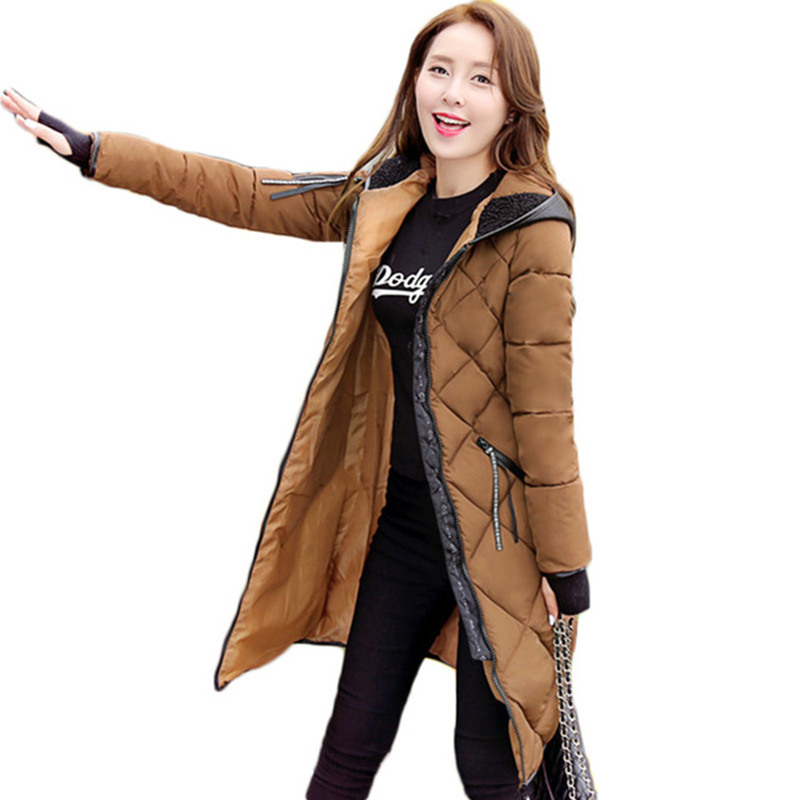 Winter Jacket Women Maxi Coats With Gloves Casual Cotton Coat Women Hooded Parkas Wadded Padded Jacket Manteau Femme Parka C3340 2017 winter hooded jacket women cotton wadded overcoat medium long slim casual fashion parkas xxxl manteau femme coat