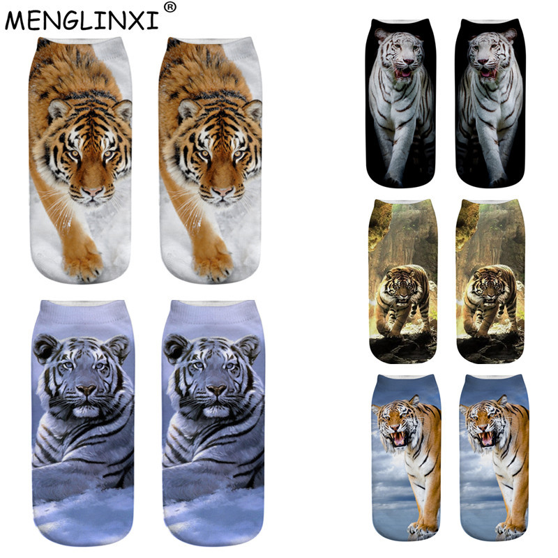 Tiger Cartoon Spring 3d Printing Sock Harajuku Woman Funny Kawaii Stretch Autumn Lovely Socks Calcetines Invisibles Girl Sock
