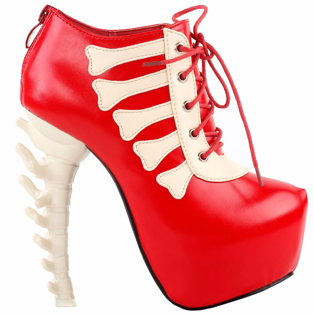 LF80649 Punk Black White Skull Two Tone Lace Up High-top Bone Heels Platform Ankle Boot