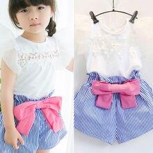 Футболка верх+ шорты комплект одежды в полоску из 2-х предметов детская одежда для маленьких девочек плиссированные брюки с цветочным рисунком и синим бантом для девочек 2 предмета