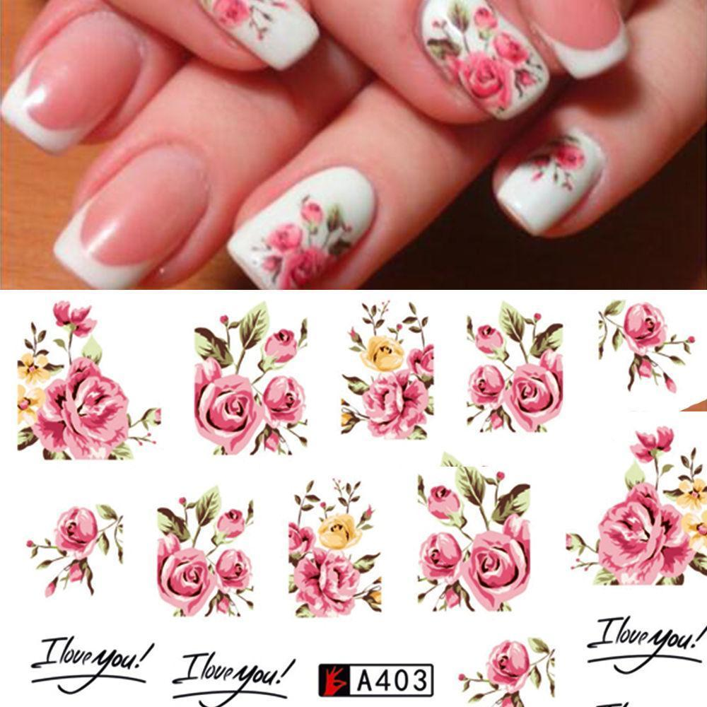 Nail Art Water Decals Stickers Transfers Rink Roses Flowers Gel Polish Nail Manicure Decor Romantic  Art Stickers 1PC