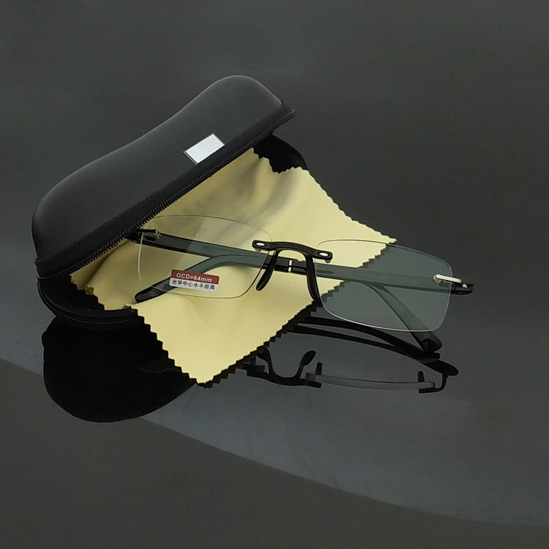 Rimless Reading Glasses med Case +1.00 +1.50 +2.00 +2.50 +3.00 +3.50 +4.00 TR90 Oculos de Leitura Män Anti-reflekterande