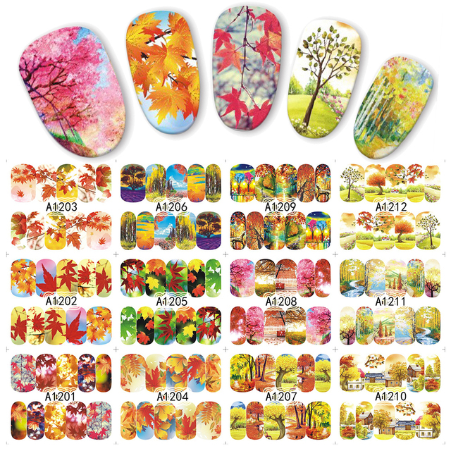 1 sheet Colorful Fall Season Tree Water Transfer Nail Art Sticker Beauty Red Maple Leaf Decal Nails Art Decorations JIA1201-1212