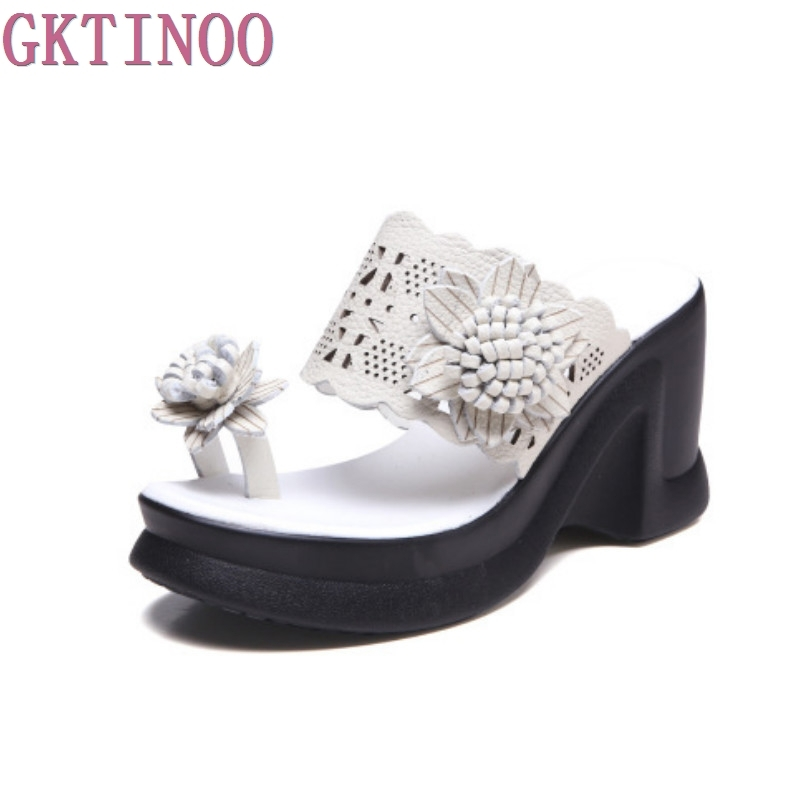 2018 Summer Shoes Women Sandals Genuine Leather Wedges Platform Handmade Flower Sandals Hollow Flip Flops Ethnic Style phyanic 2017 gladiator sandals gold silver shoes woman summer platform wedges glitters creepers casual women shoes phy3323
