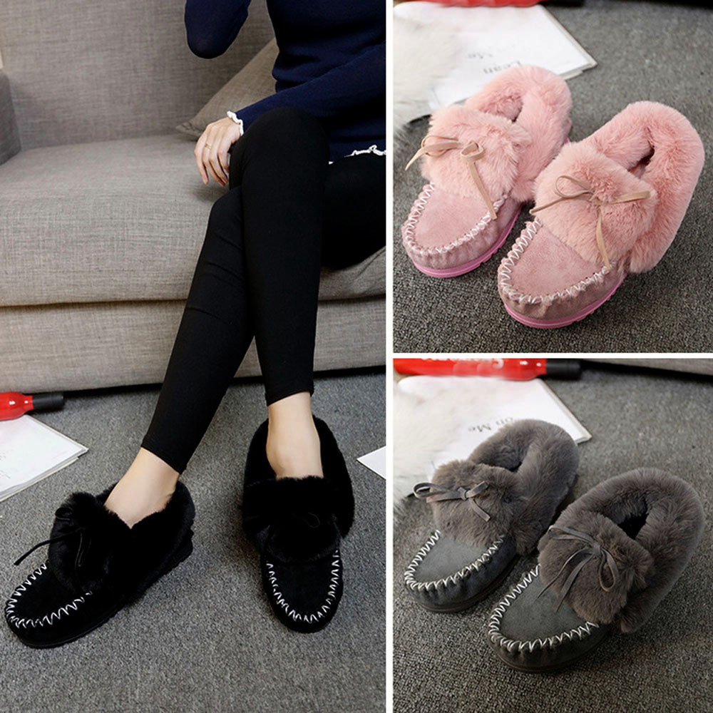 autumn winter  boots for women Fashion Women Boots Flat Ankle Fur Lined Winter Warm Snow Shoes Lazy Shoes#NFA