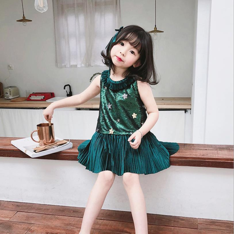 Girls baby summer new dress Sequined sleeveless patchwork dress sweet lovely children princess dress brithday party dress ws593Girls baby summer new dress Sequined sleeveless patchwork dress sweet lovely children princess dress brithday party dress ws593