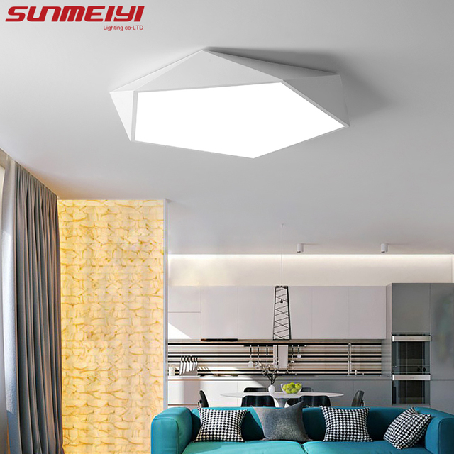Dimmable Led Ceiling Lamps Design Creative Geometry Luminaria Living